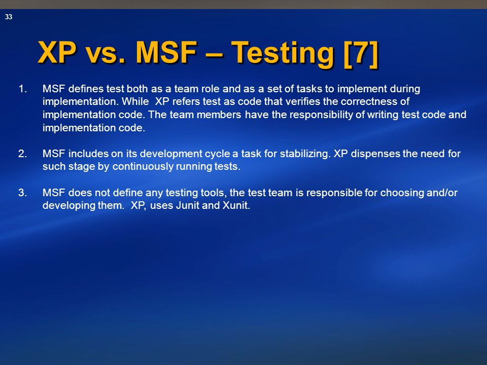 XP vs. MSF – Testing [7]